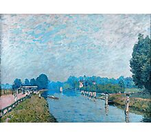 Alfred Sisley - Bords de riviere Orillas del río La Tamise a Hampton Court, premiers jours d octobre 1874 - 1874  Impressionism  Landscape  Photographic Print