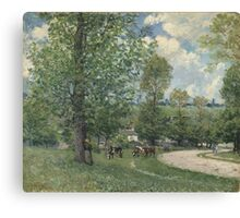 Alfred Sisley - Cows in Pasture, Louveciennes 1874  Impressionism  Landscape  Canvas Print