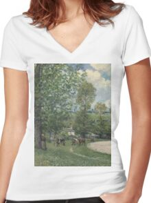 Alfred Sisley - Cows in Pasture, Louveciennes 1874  Impressionism  Landscape  Women's Fitted V-Neck T-Shirt