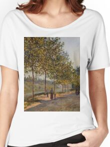 Alfred Sisley - June Morning in Saint-Mammes 1884  Impressionism  Landscape  Women's Relaxed Fit T-Shirt