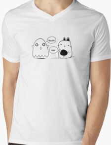 The cat and the ghost print Mens V-Neck T-Shirt
