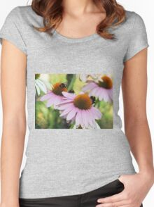 Echinacea Purpurea with Bees  Women's Fitted Scoop T-Shirt