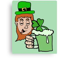 Drunk Leprechaun Cartoon Canvas Print