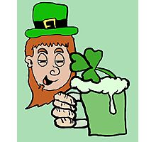 Drunk Leprechaun Cartoon Photographic Print