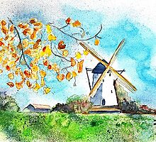 Old Windmill in Autumn by AndreaFettweis