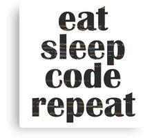 eat sleep code Canvas Print
