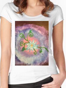 White flower abstract  Women's Fitted Scoop T-Shirt