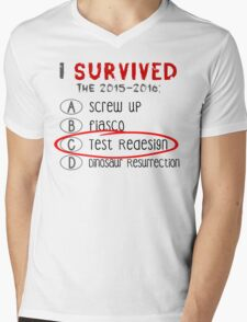 I Survived...The Test Redesign Mens V-Neck T-Shirt