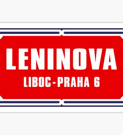 Leninova, Historic Street Sign, Prague, Czech Republic Sticker