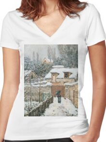 Alfred Sisley - Snow at Louveciennes French Impressionism Landscape Women's Fitted V-Neck T-Shirt