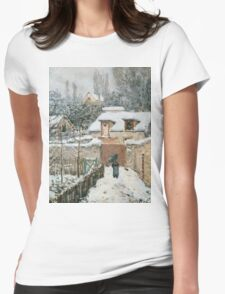 Alfred Sisley - Snow at Louveciennes French Impressionism Landscape Womens Fitted T-Shirt