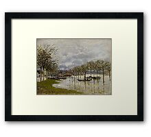 Alfred Sisley - The Flood on the Road to Saint-Germain  French Impressionism Landscape Framed Print