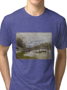 Alfred Sisley - The Flood on the Road to Saint-Germain  French Impressionism Landscape Tri-blend T-Shirt