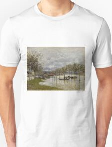 Alfred Sisley - The Flood on the Road to Saint-Germain  French Impressionism Landscape Unisex T-Shirt
