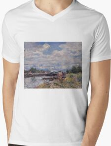 Alfred Sisley - The Seine at Billancourt   French Impressionism Landscape Mens V-Neck T-Shirt