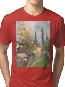 Alfred Sisley -A path at Les Sablons  French Impressionism Landscape Tri-blend T-Shirt