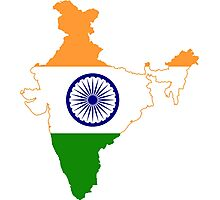 Flag Map of India Photographic Print