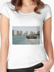 Wooden Barge in Tokyo Waters Women's Fitted Scoop T-Shirt