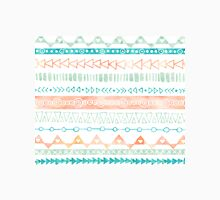 Orange Peach Green Aqua Blue Hand Drawn watercolor geometric Pattern Classic T-Shirt