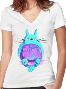 My neighbor Totoro in indigo shades Women's Fitted V-Neck T-Shirt