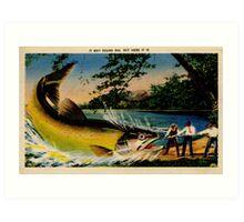Fishing, bragging, giant fish, vintage Art Print