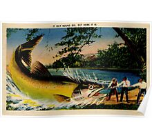 Fishing, bragging, giant fish, vintage Poster