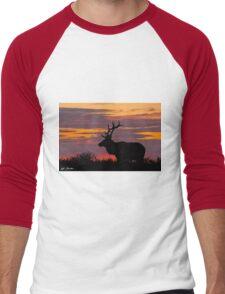 Bull Tule Elk Silhouetted at Sunset Men's Baseball ¾ T-Shirt