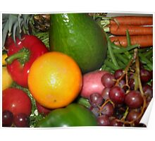Fruit and Vegetable Collage 6 Poster