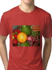 Fruit and Vegetable Collage 6 Tri-blend T-Shirt