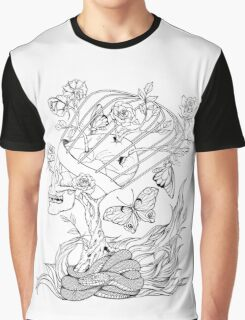 illustration with skull, snake, butterflies and flowers Graphic T-Shirt