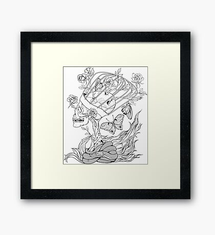 illustration with skull, snake, butterflies and flowers Framed Print