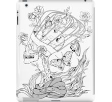 illustration with skull, snake, butterflies and flowers iPad Case/Skin