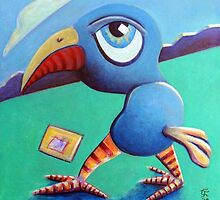 Blue Bird With Abstract by Charles  Jones