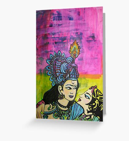 Us   Love themed pop art with vintage Indian imagery Greeting Card