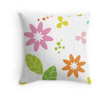 Retro Daisies Throw Pillow