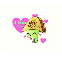 Gir Loves Tacos Art Print