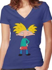 Hey Arnold! Women's Fitted V-Neck T-Shirt