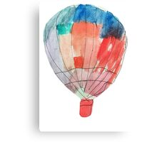 Watercolor and Pen and Ink Colorful Hot Air Balloon Canvas Print