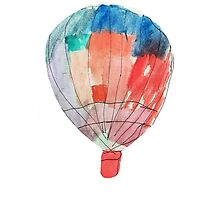 Watercolor and Pen and Ink Colorful Hot Air Balloon Photographic Print