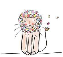 Lion digital art colourful art  by Marie Charrois