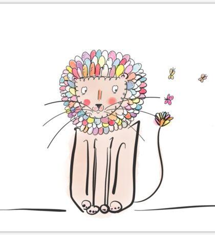Lion digital art colourful art  Sticker