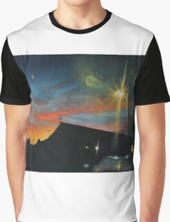 Suburban Sunset Oil on Canvas Graphic T-Shirt