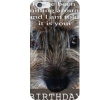 Birthday wishes, Border terrier, sniffing around, humor iPhone Case/Skin