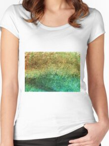 Forest At The Edge Of The Pond in Oil Pastel Women's Fitted Scoop T-Shirt