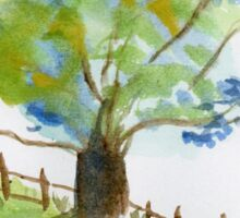 Tree in a green field with blue flowers - watercolor painting la Sticker