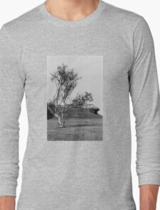 Normandy Landscape Black and White  Long Sleeve T-Shirt