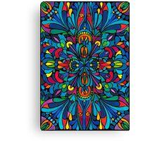 Caribbean inspired  watercolor mandala pattern -BLACK Canvas Print