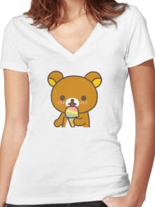 Rilakkuma + Ice Cream! Women's Fitted V-Neck T-Shirt