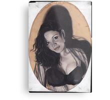 Original Realism Charcoal Drawing of Beautiful Semi Nude Woman Metal Print