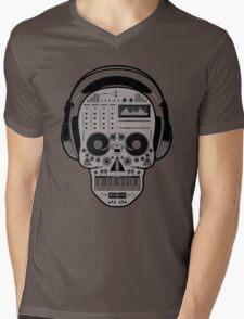 DJ SKULL SPINNING Mens V-Neck T-Shirt